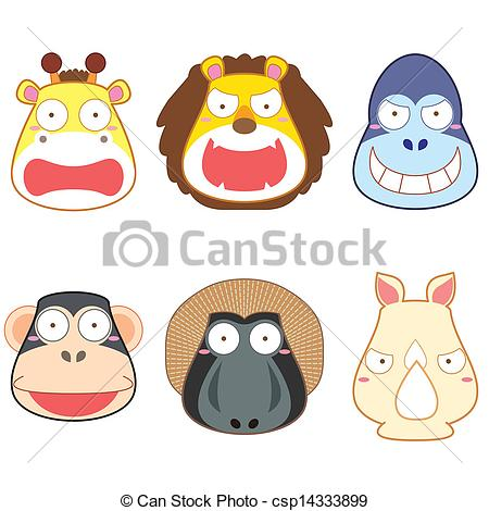 Showing post & media for Cartoon animal heads clip art.