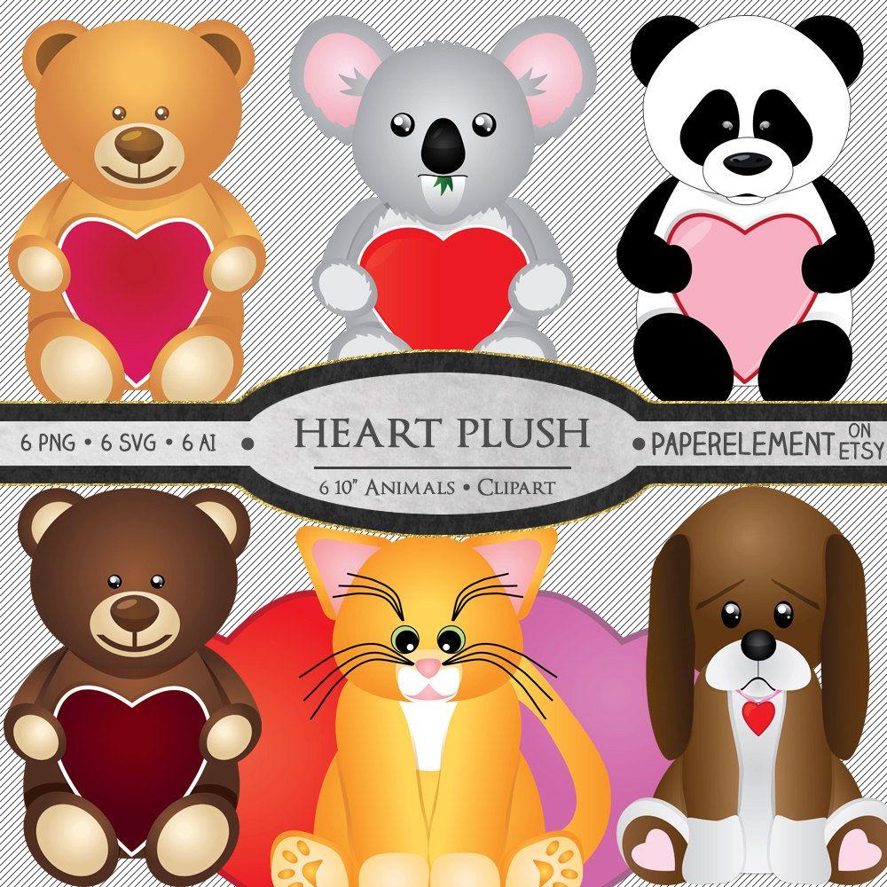 Plush Animal Clipart: Stuffed Animal Clipart, Valentine.