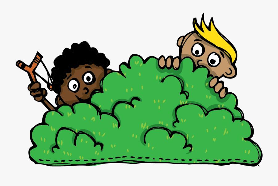 Children Hiding Behind The Bush.