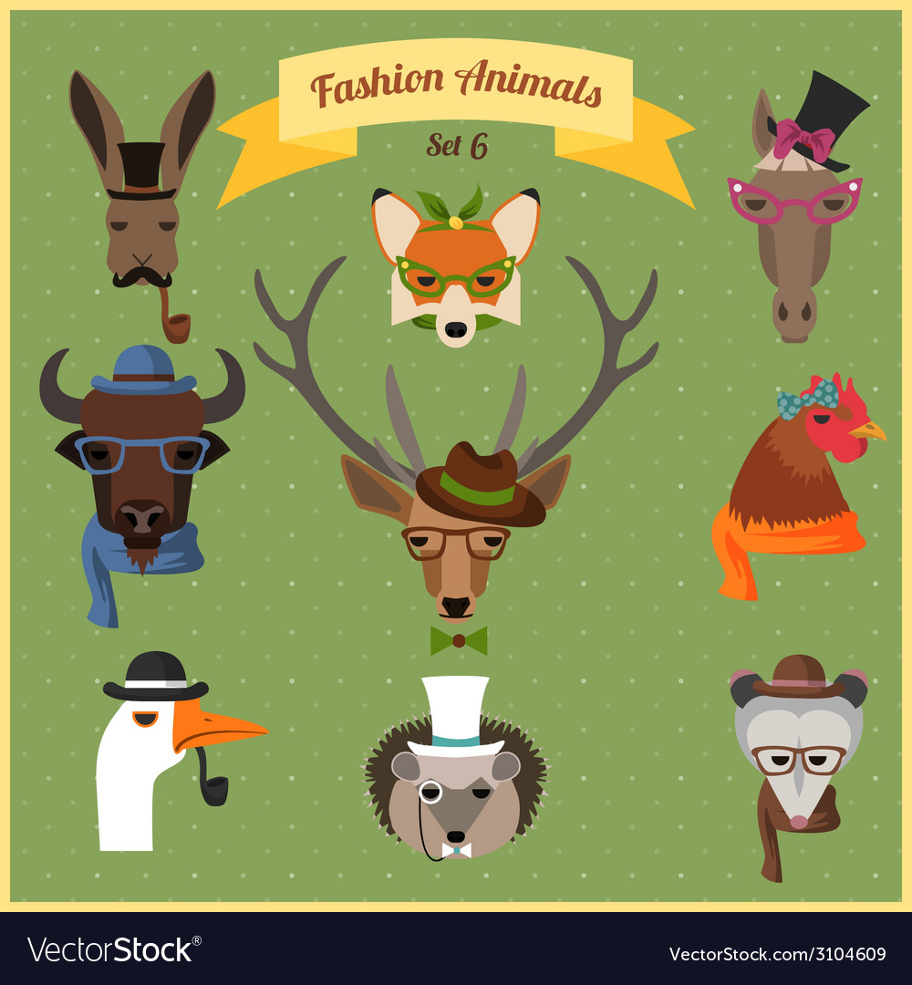 Fashion Hipster Animals set 6.
