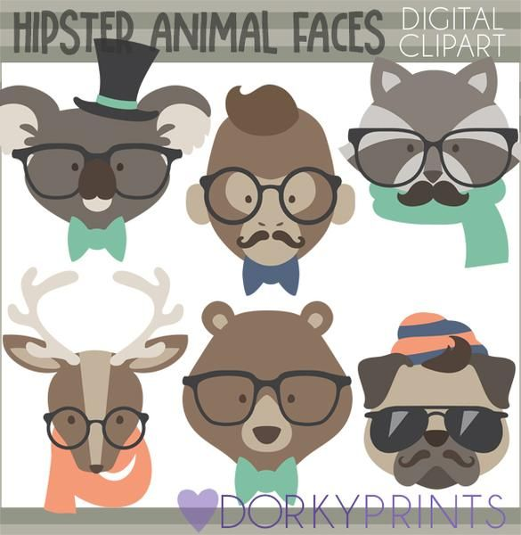 Hipster Animals Clipart.