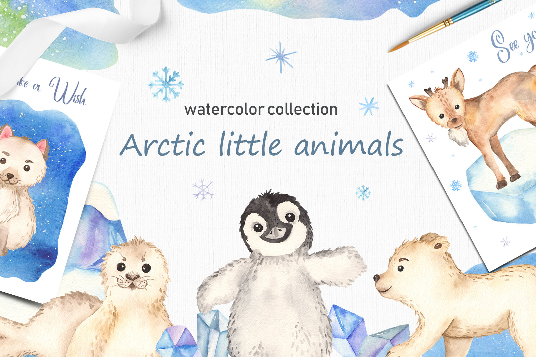 Arctic little animals watercolor collection clipart By.