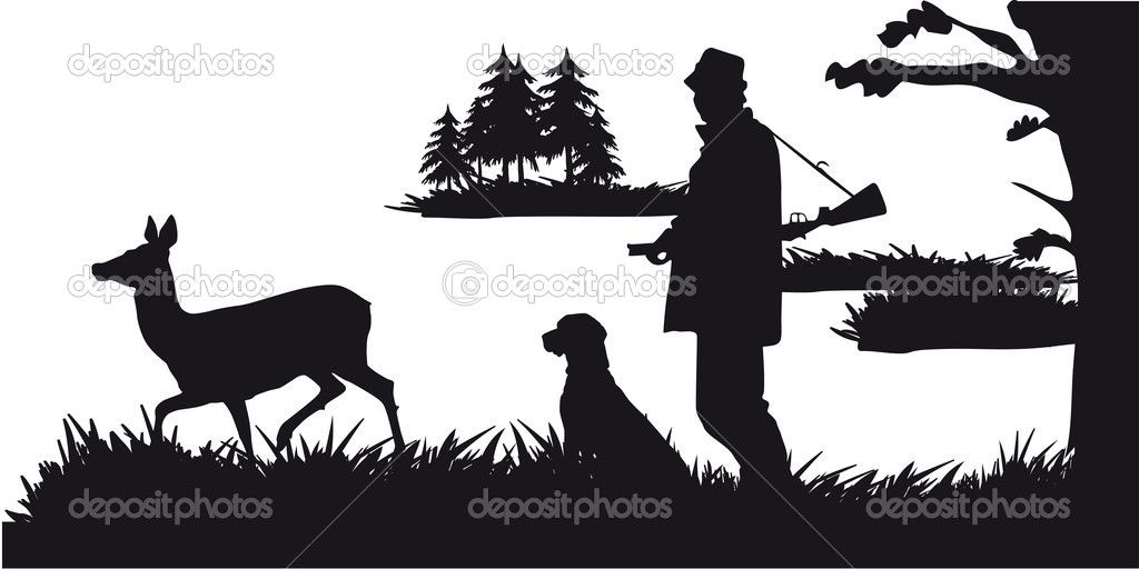 Hunter with dog hunting animals in the forest.