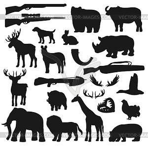 African safari hunt animals and birds, hunter ammo.