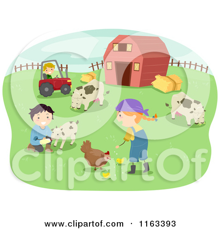 Cartoon of Happy Children Tending to Chickens Goats and Cows on a.