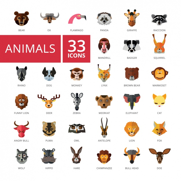 Animal icons collection Vector.