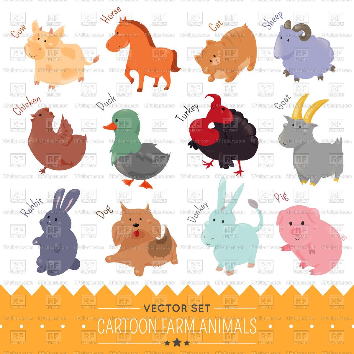 Set of cute cartoon farm animal icons Stock Vector Image.