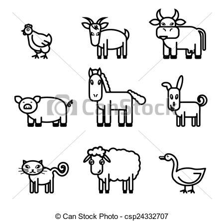 farm animals icons.