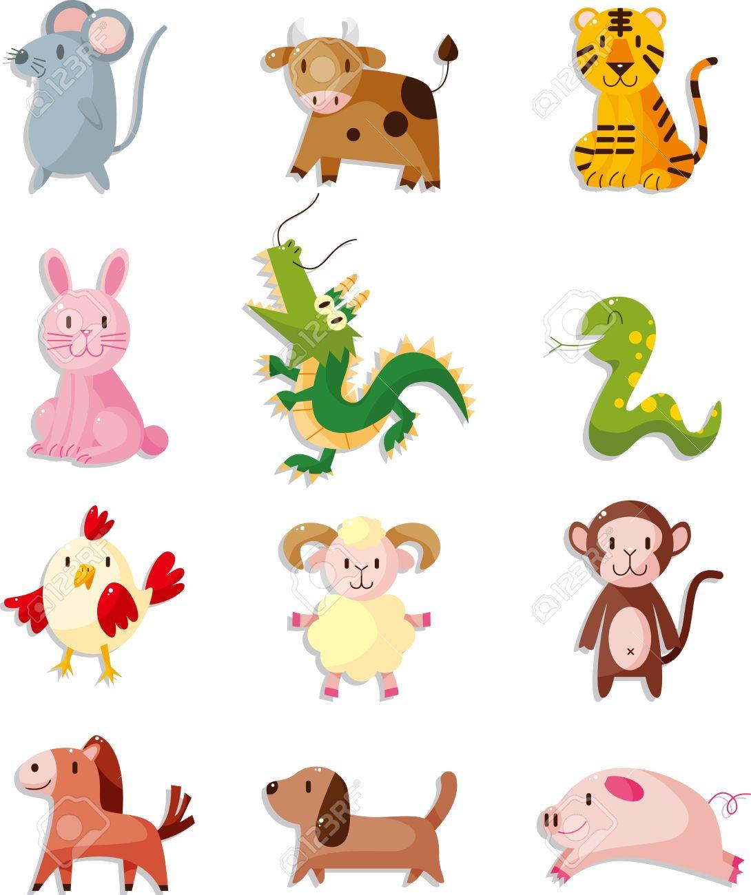 12 animal icon set,Chinese Zodiac animal.