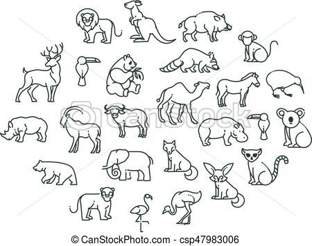 animal icons. Zoo Animals.
