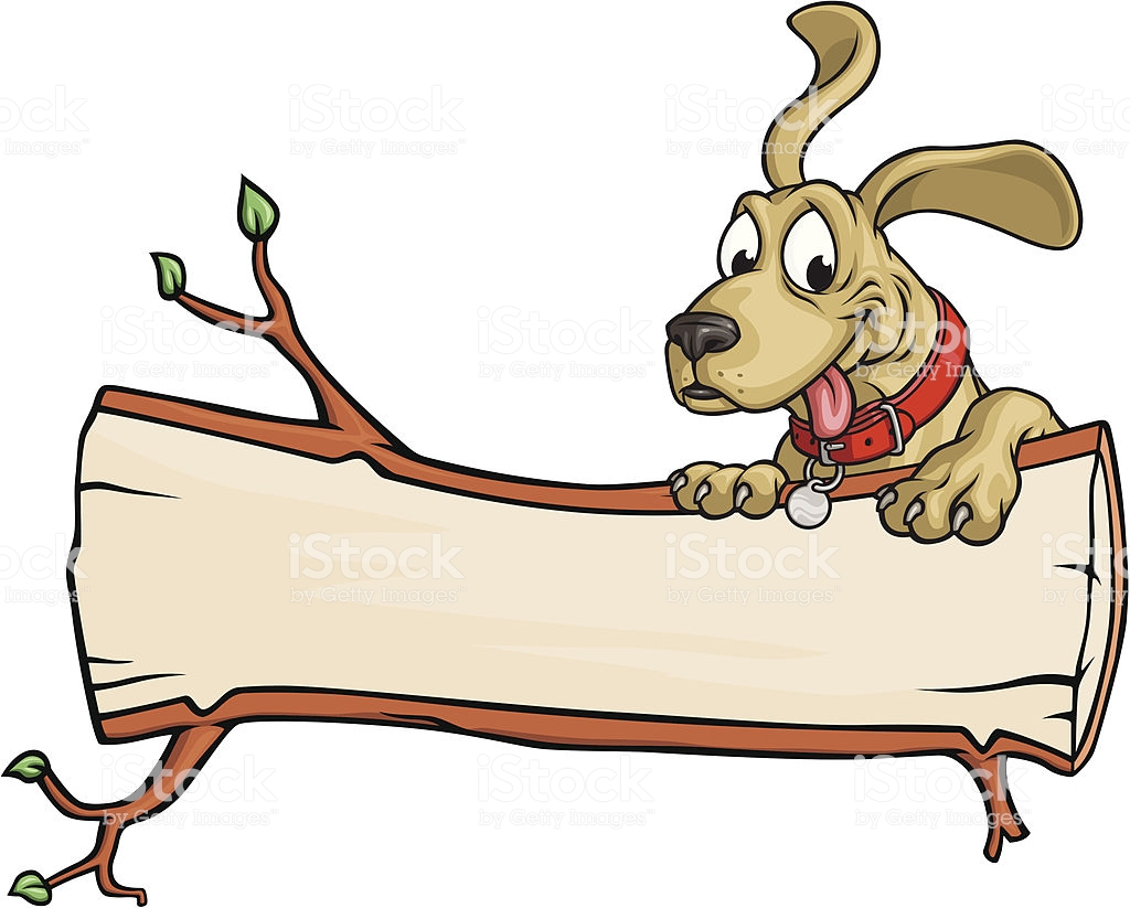 Dog Log Copy Space Stock Illustration.