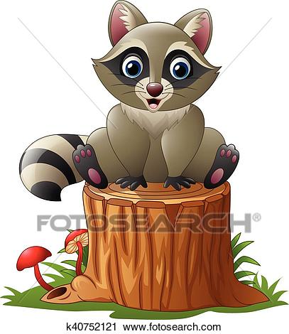 Cute raccoon on the tree log Clipart.