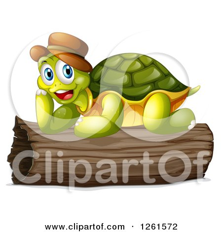 Animal Clipart of a Tortoise Resting on a Log.