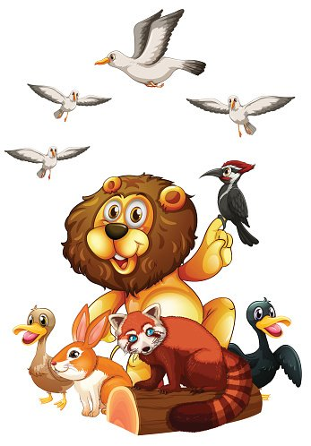 Different kind of wild animals on log Clipart Image.