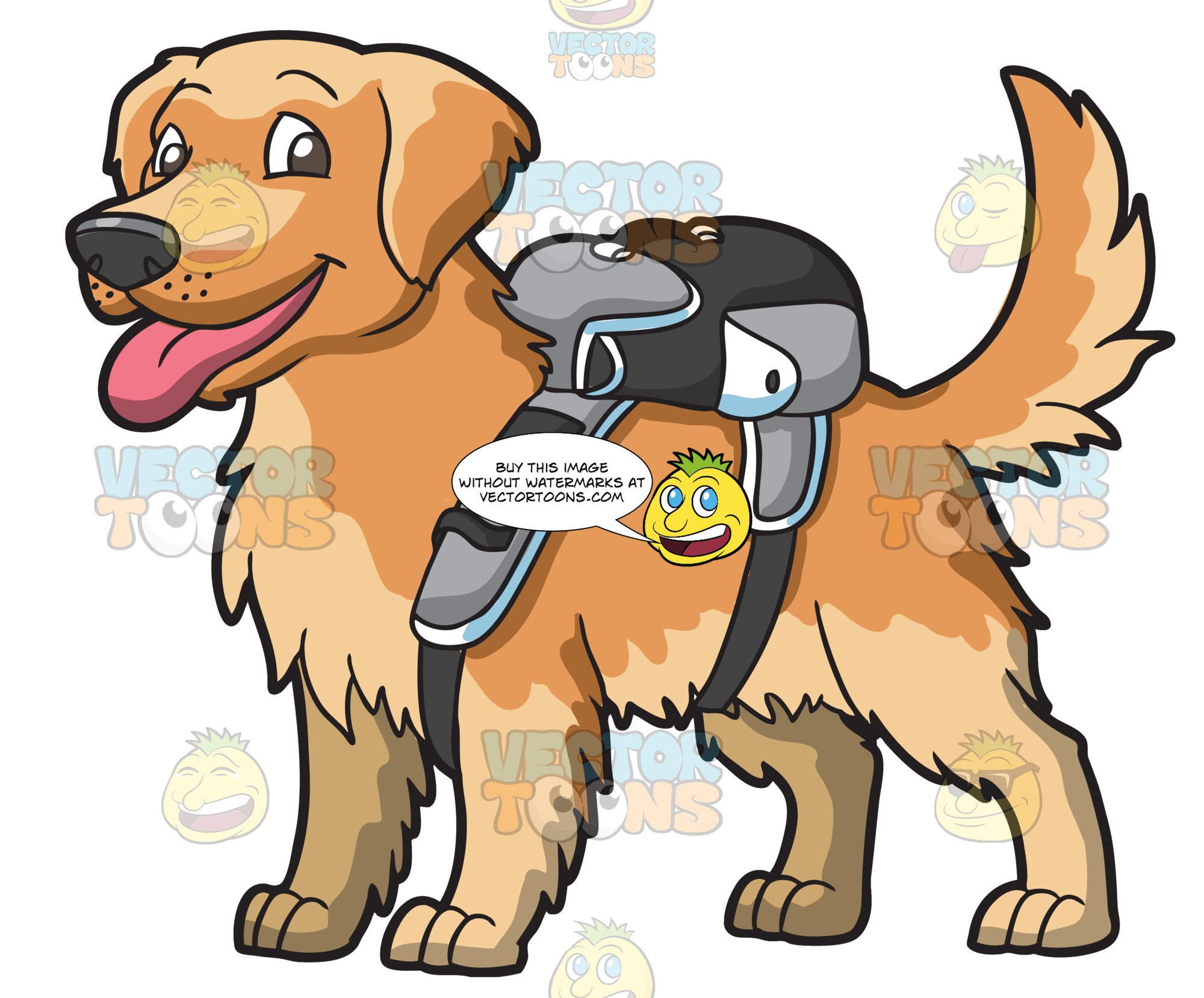An Adorable Golden Brown Puppy Carrying A Backpack.