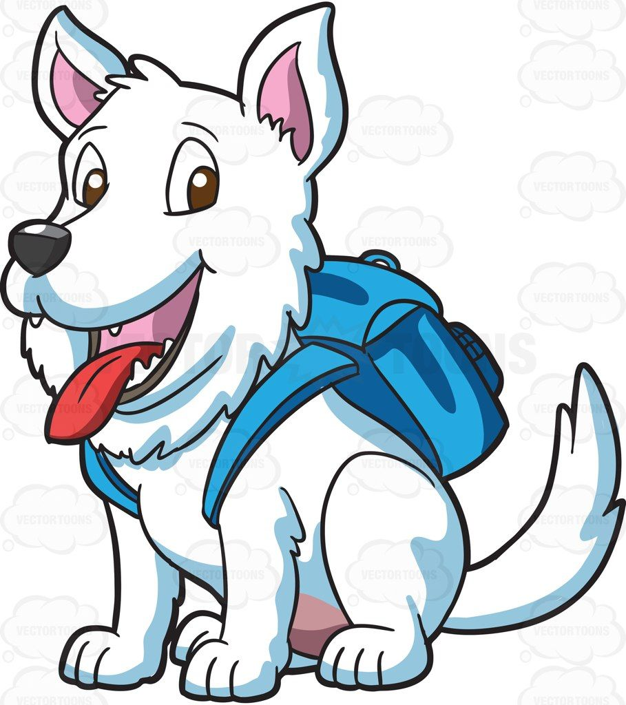 A small white dog with a backpack #cartoon #clipart #vector.