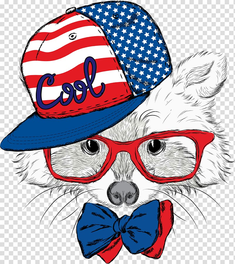 Animal wearing USA Cool fitted cap illustration, Cat Dog.