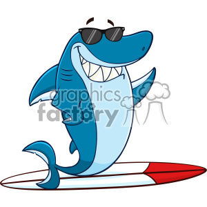 Clipart Smiling Blue Shark Cartoon With Sunglasses Surfing And Waving  Vector With Background clipart. Royalty.