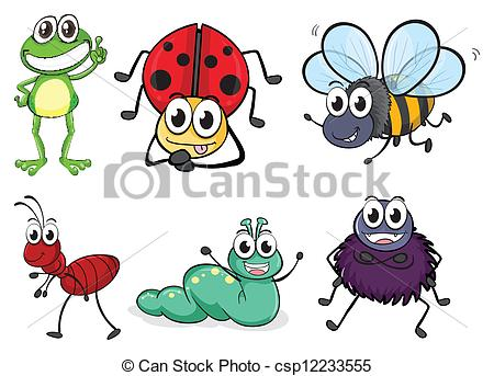 Clipart Vector of Various insects and animals.