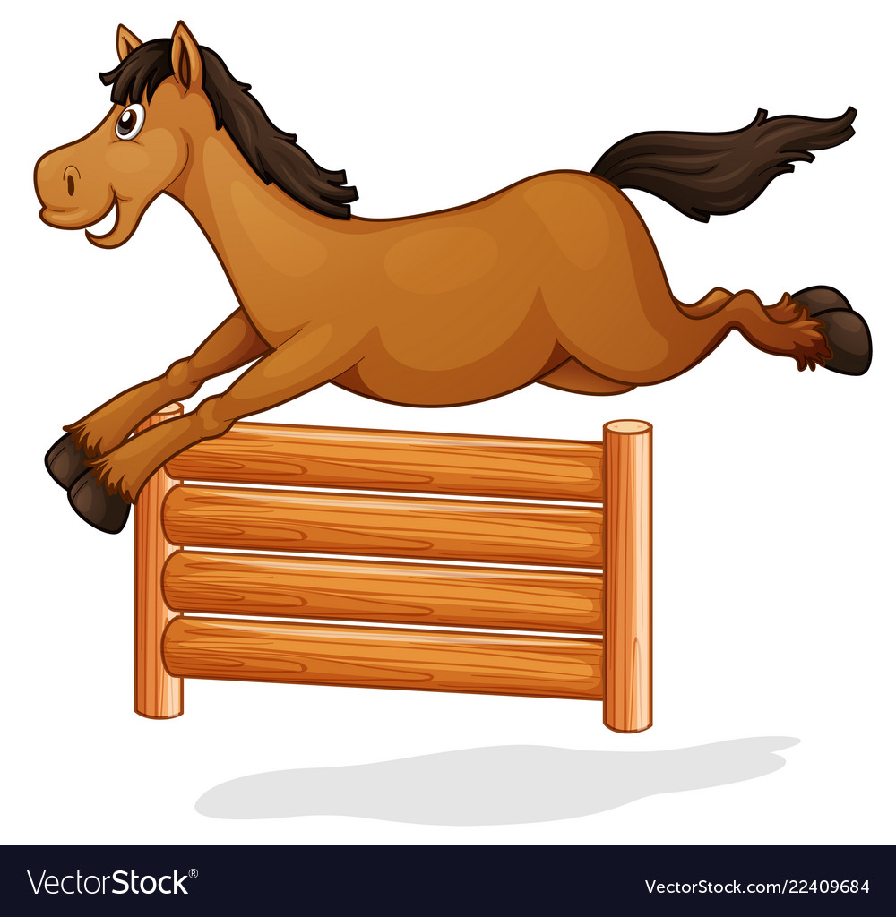 A horse jump on wooden fence.