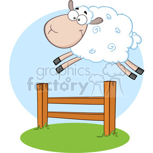 7123 Royalty Free RF Clipart Illustration Funny White Sheep Jumping Over  The Fence clipart. Royalty.