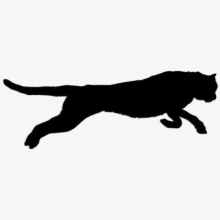 Black Jaguar Animal Jumping Clipart Transparent Background.