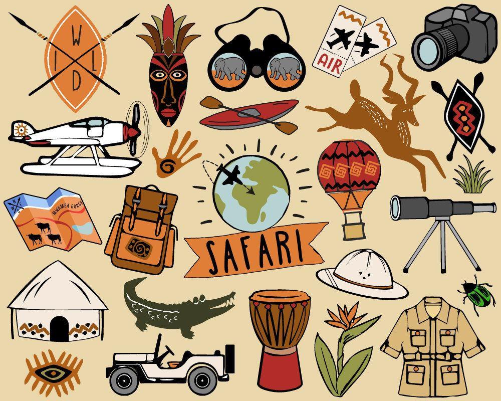 Safari Clipart, travel clipart, African safari clip art.