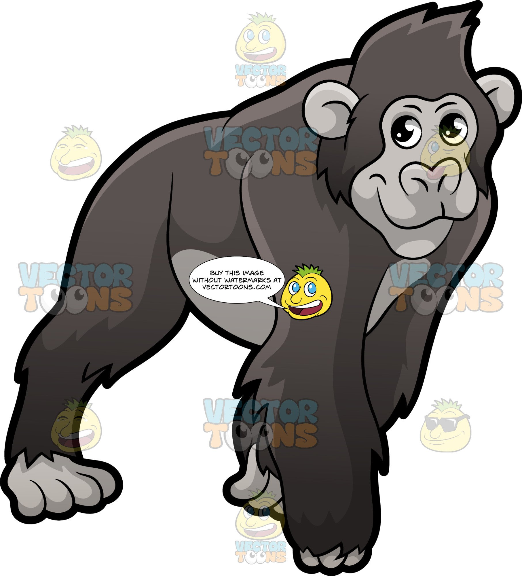 A Gorilla On All Fours.