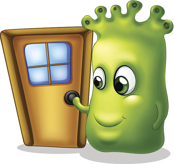 Silhouette Of The Knocking On A Door Clip Art, Vector Images.
