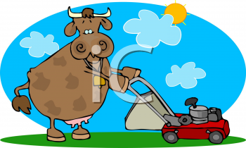 Cartoon Clipart Picture Of A Cow Mowing The Lawn.