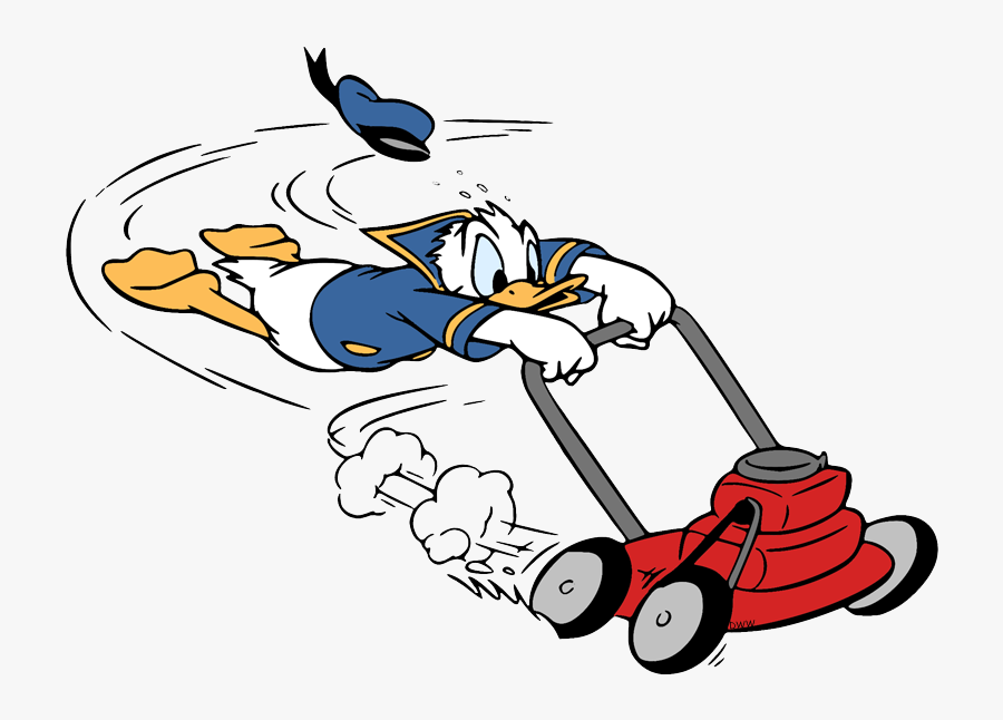 Donald Duck Pushing Lawn Mower , Free Transparent Clipart.