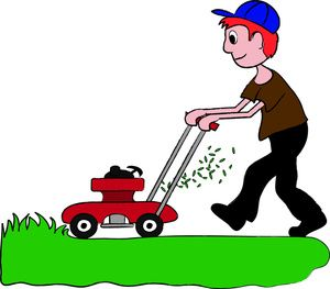 Lawn mower clipart image red headed boy mowing the grass.