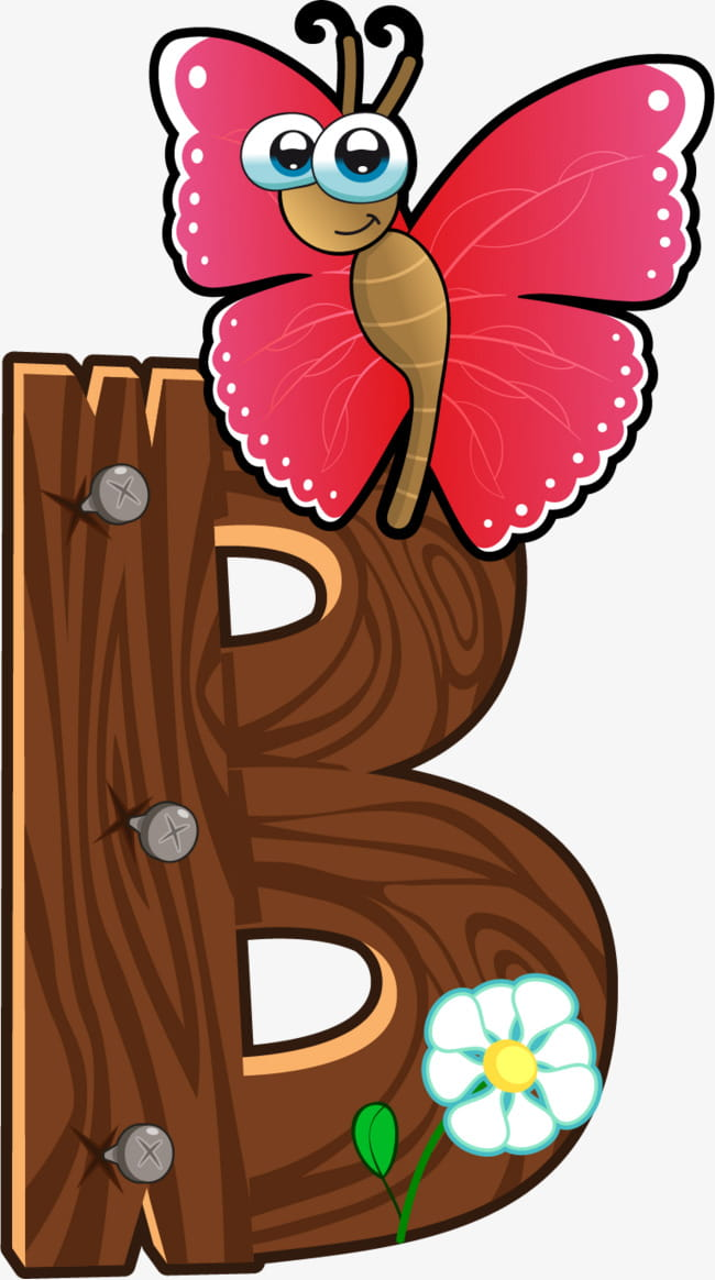 Cartoon wooden animals letter b PNG clipart.