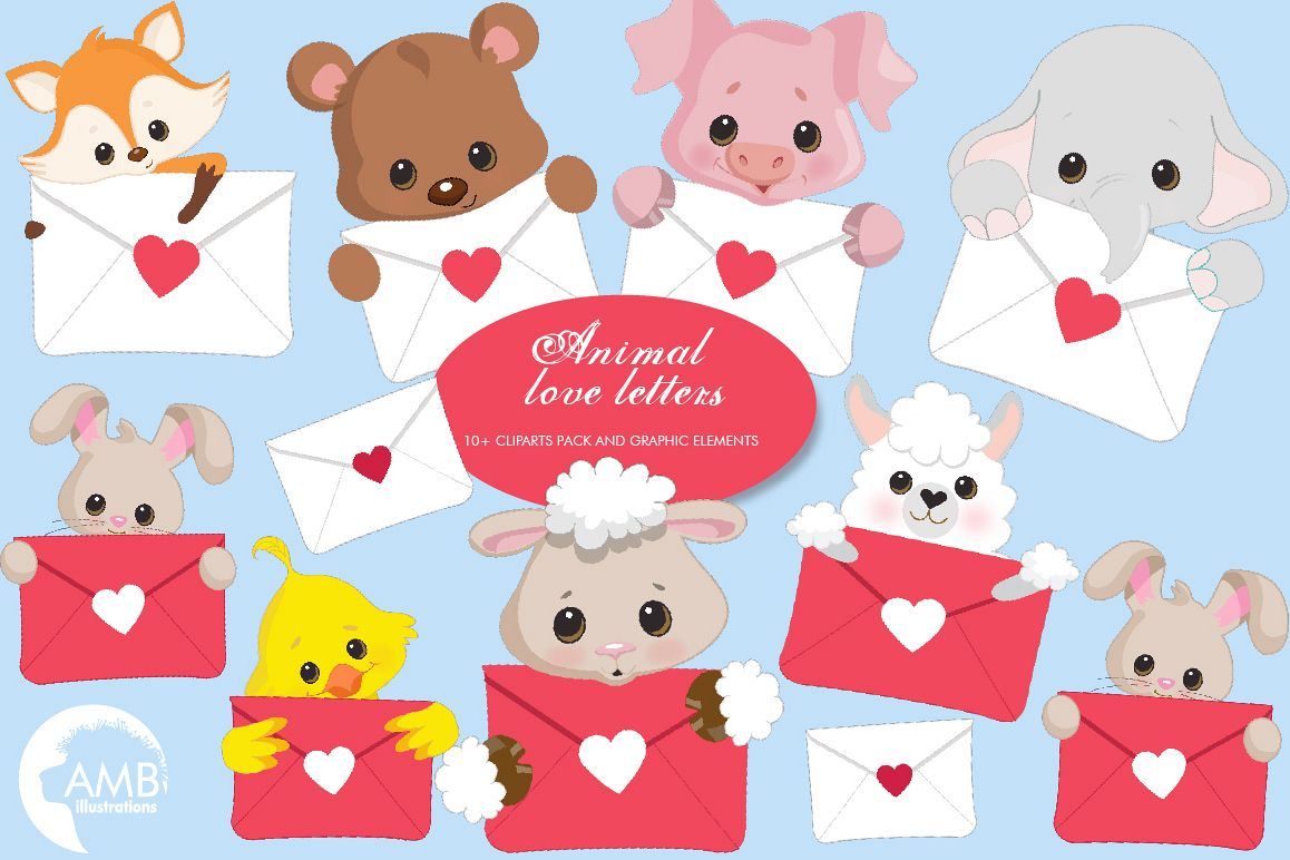 Animal Love Letters Clipart AMB.