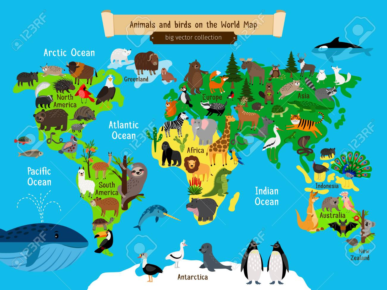 World Map Animals. Europe and Asia, South and North America,...