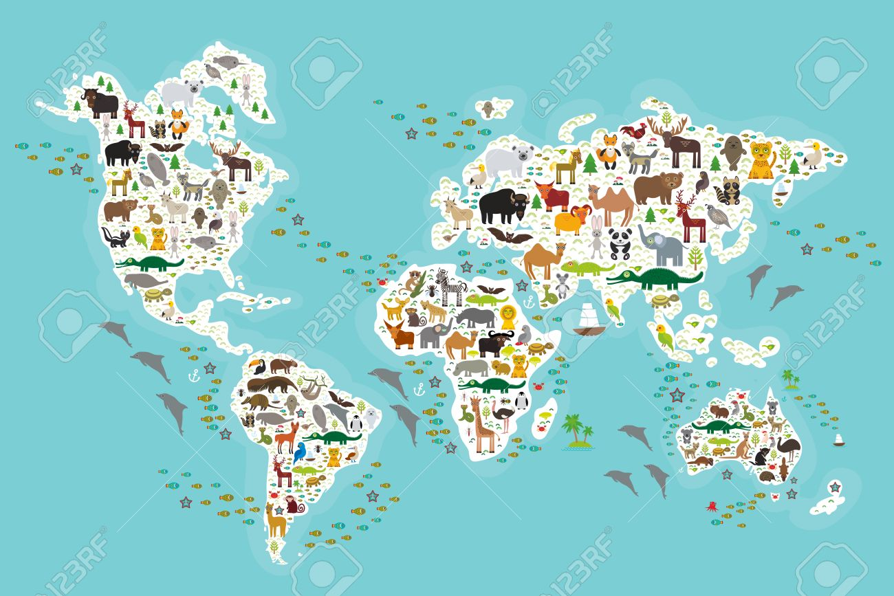 Cartoon animal world map for children and kids, Animals from...