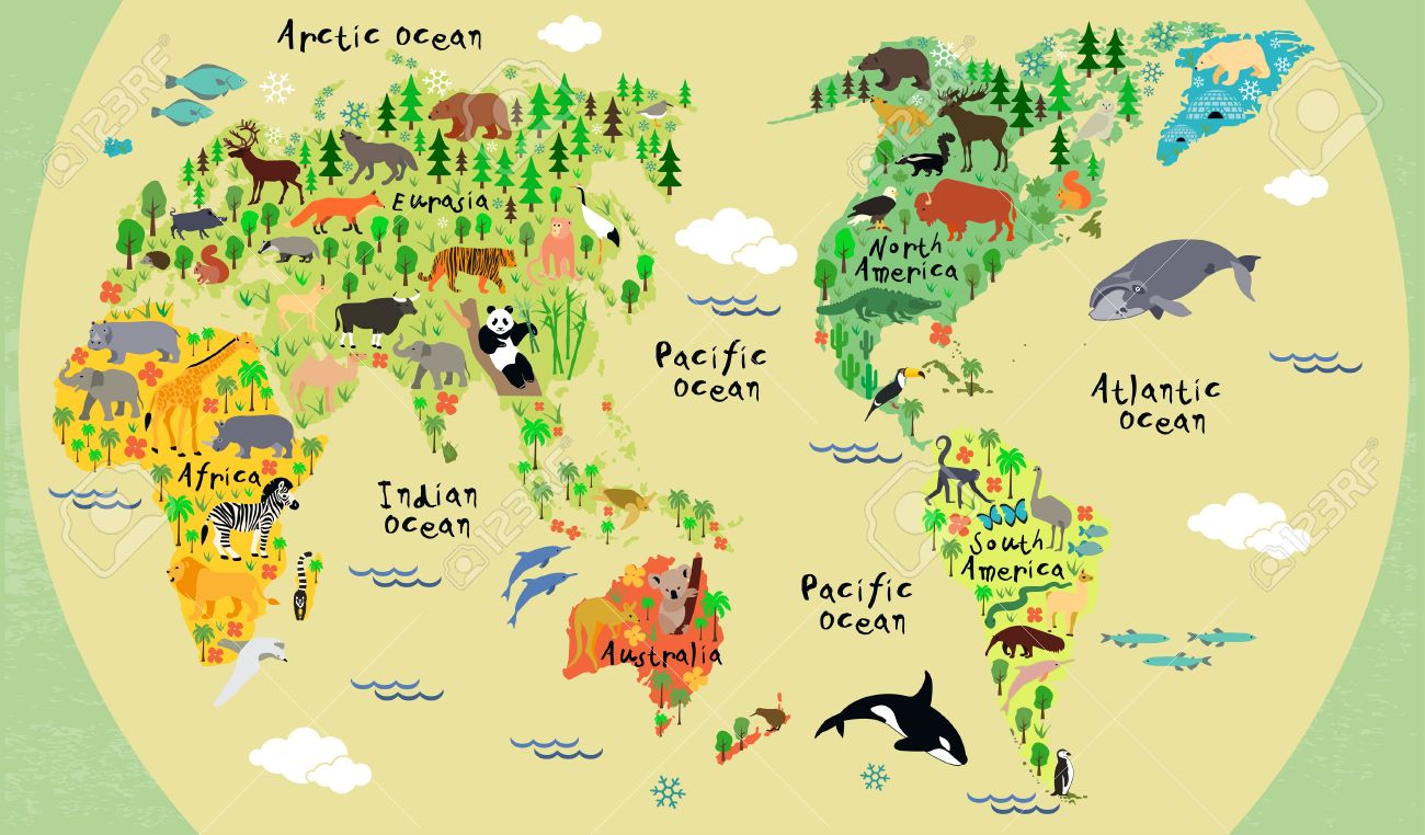 Animal map of the world for children and kids.