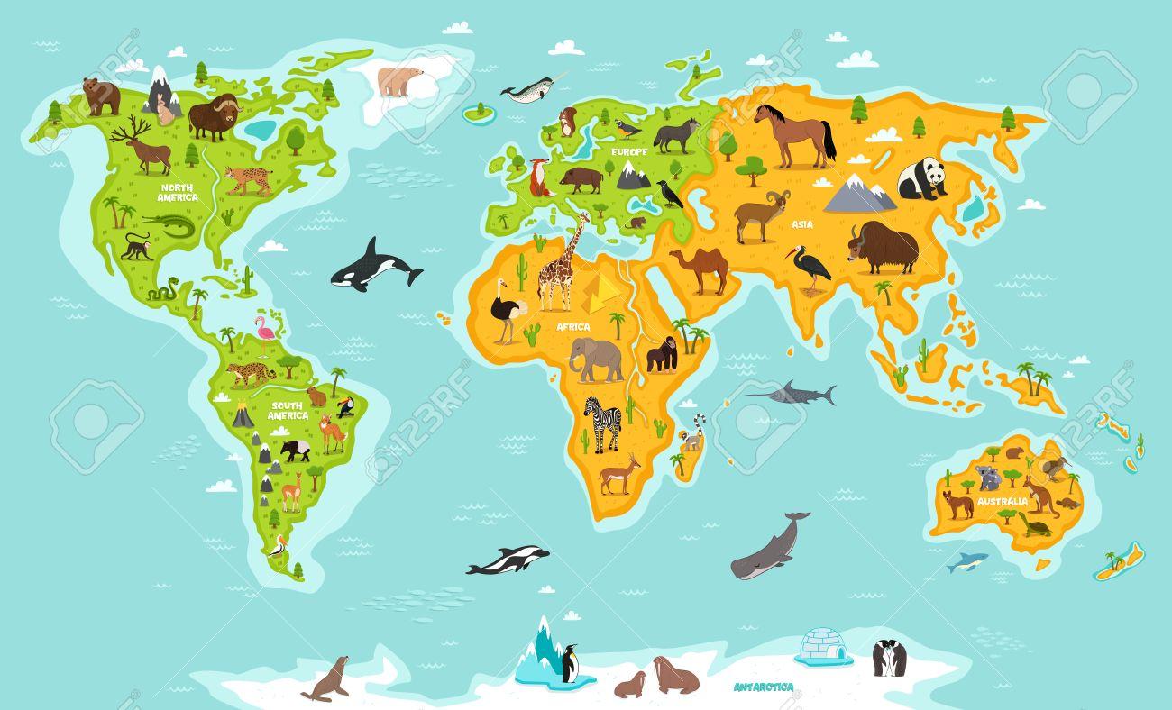World map with wildlife animals vector illustration. Animals...