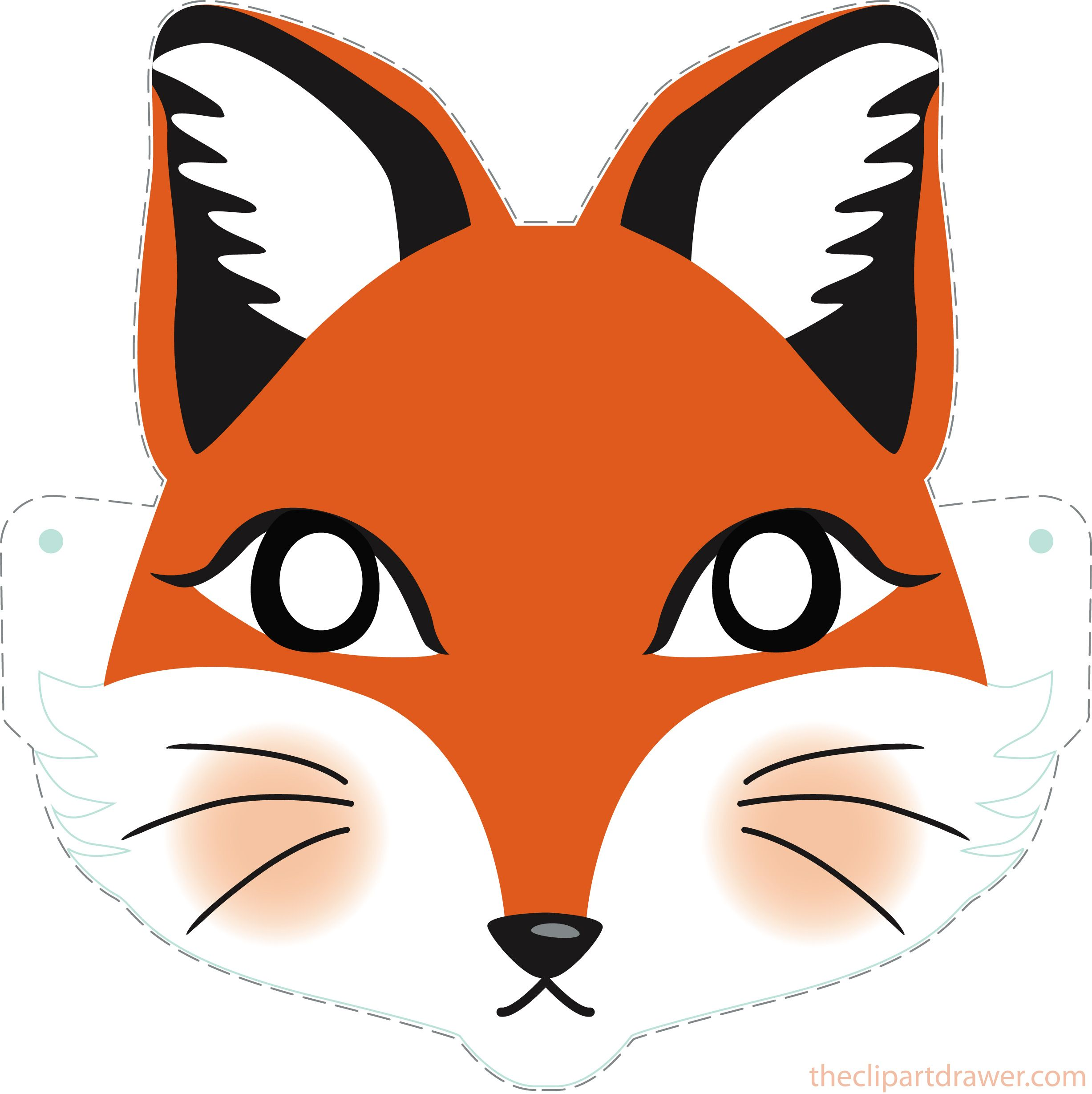DIY Fox Printable Mask for Kids.