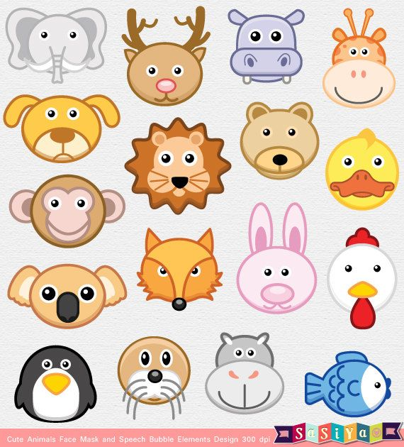 INSTANT DOWNLOAD Party Animal Face Mask & Speech by.