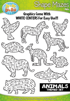 Animal Shaped Mazes Clipart {Zip.