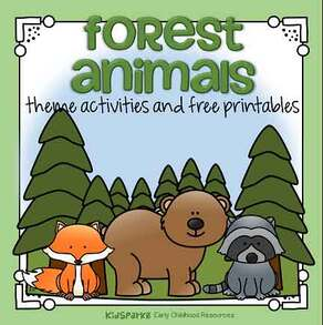 Forest animals theme activities and printables for preschool.