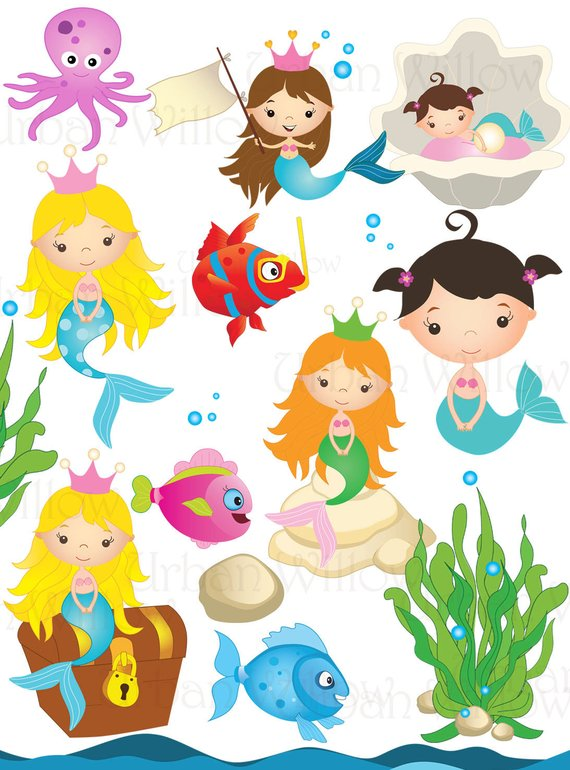 MERMAID Clipart, Under Sea Clipart, Graphics Fish, Cute Fish.