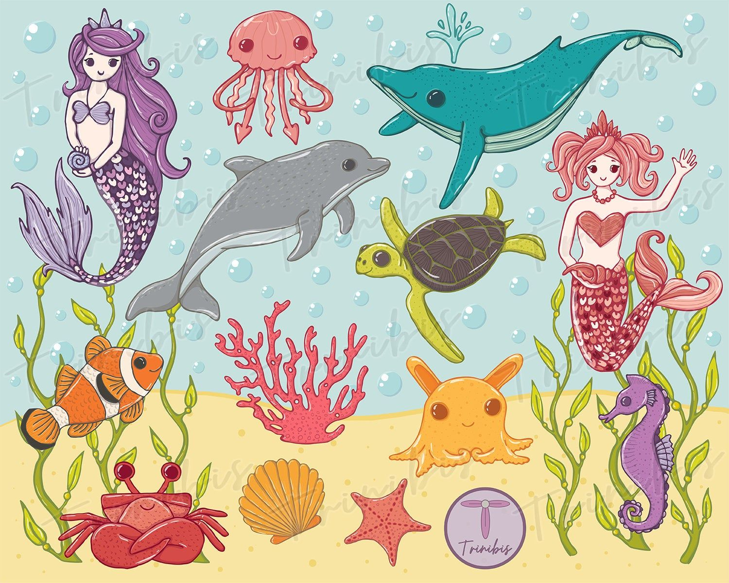 Sea animals clipart Sea creatures commercial use clipart.