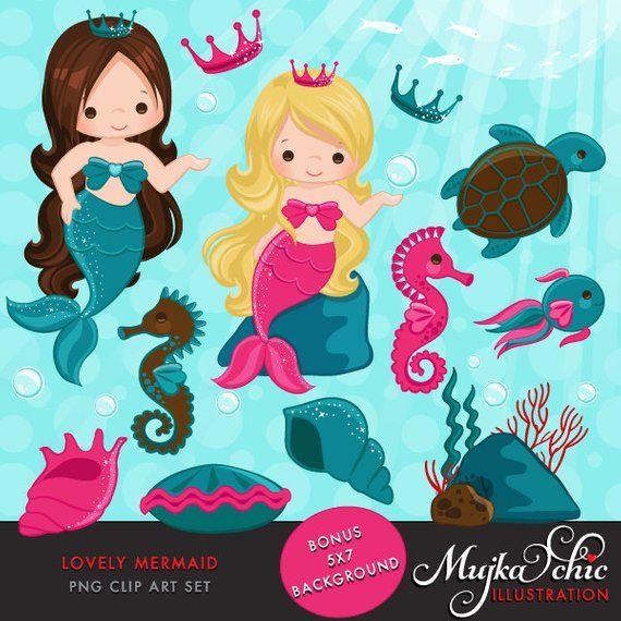 Mermaid Clipart & Under sea graphics, little mermaid.