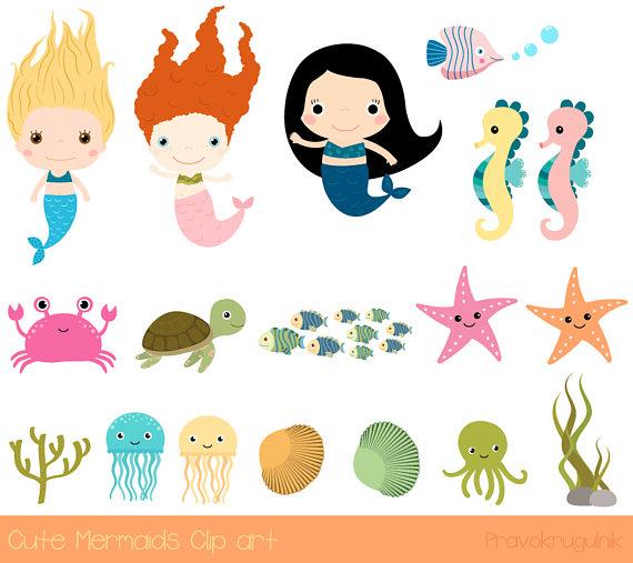 Cute mermaid clipart, Under the sea clip art, Kawaii mermaid.
