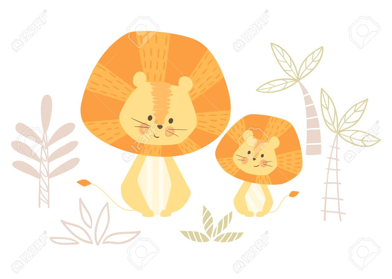 Lion mom and baby cute print. Sweet animal family. mother and...