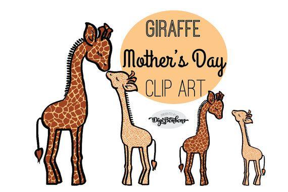Mothers Day Clipart, Giraffe Clip Art, Mother abd Baby clipart.