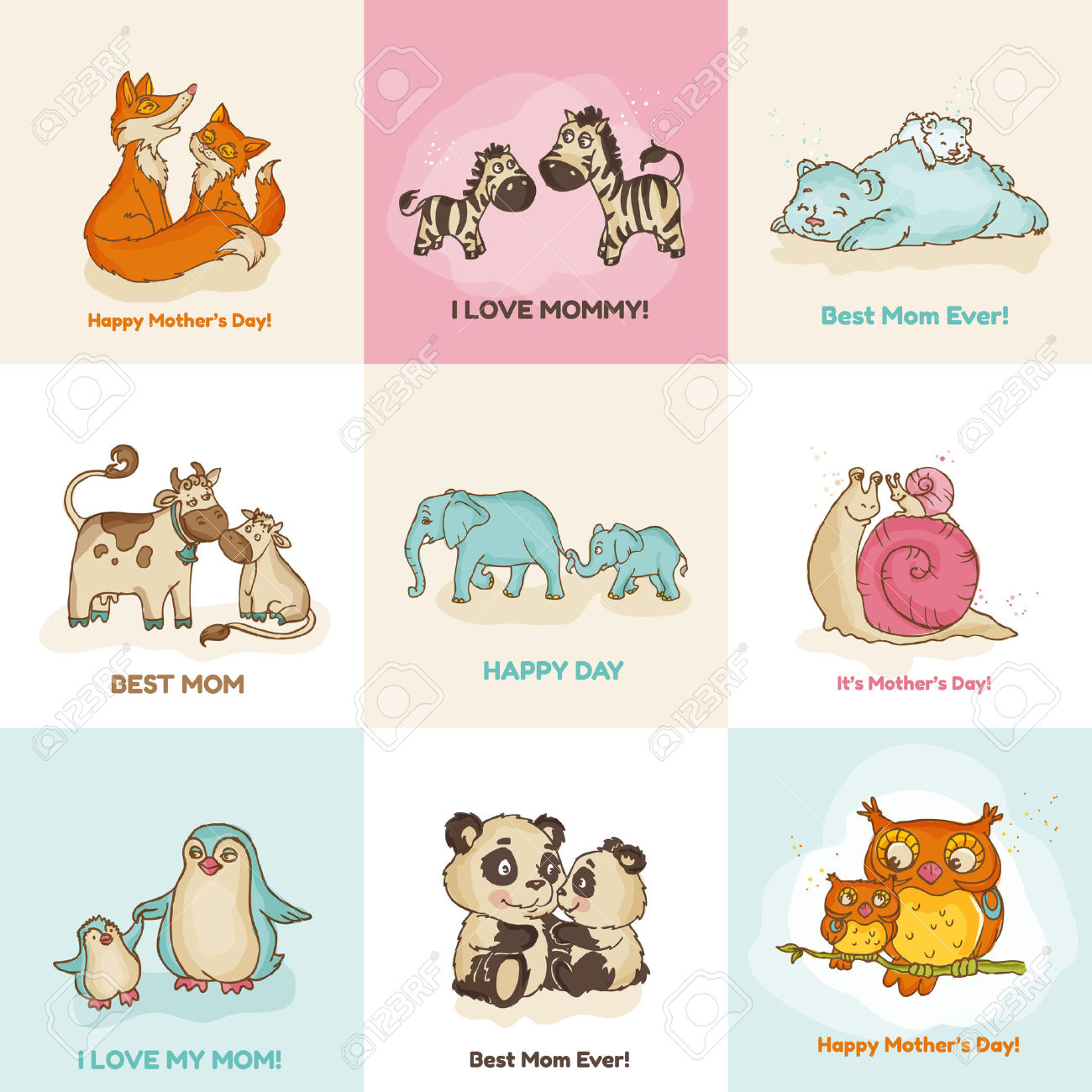 Cute Animal Mothers Day Clipart Images.