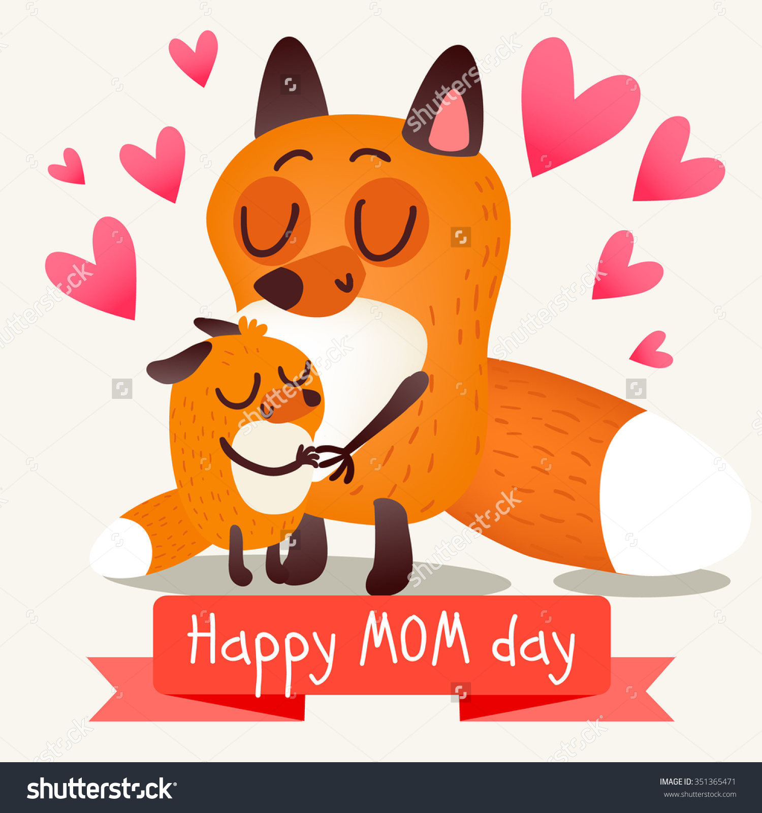 Greeting Card Mothers Day Foxes Warm Stock Vector 351365471.